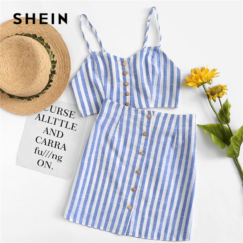 SHEIN Button Up Crop Striped Cami & Skirt Co-Ord 2018 Women Blue Spaghetti Strap Sleeveless Vacation Cloth Sweet 2 Piece Sets