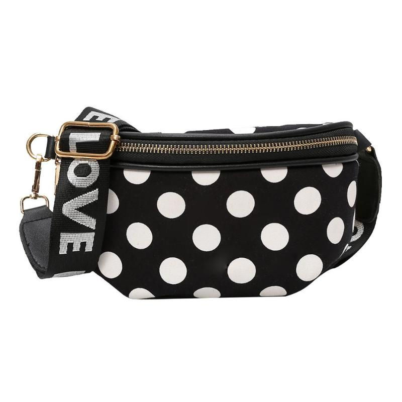 Women Casual Nylon Shoulder Waist Bags Female Stylish Dots Crossbody Belt Chest Waist