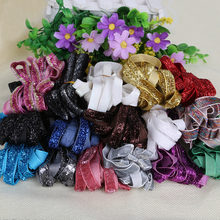 Multi Color 10mm Sparkle nylon single faced velvet ribbon velour webbing headband Hair band accessories white lace fabric 5y/lot(China)
