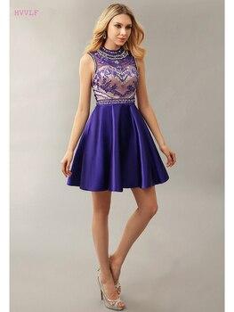 Blue Homecoming Dresses A-line High Collar Short Mini Satin Beaded Crystals Open Back Elegant Cocktail Dresses