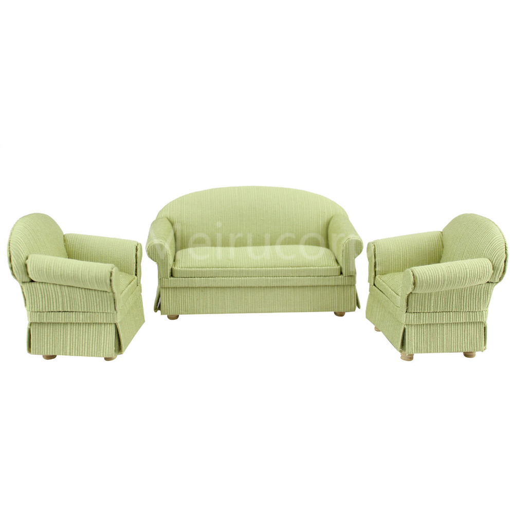 Dollhouse furniture 1//12 scale Miniature black leather Sofa and chair 3 pcs set
