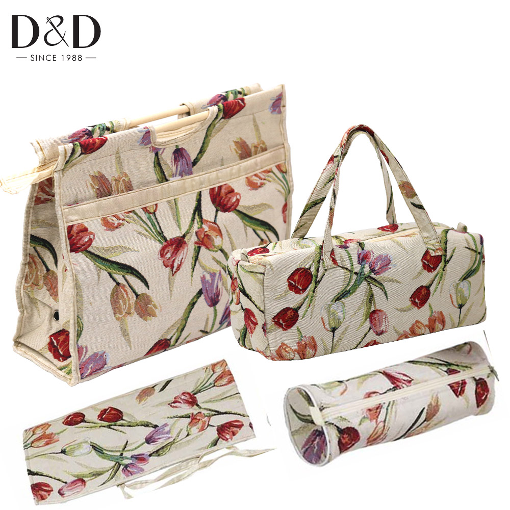 4pcs lot Household Knitting Needle Bag Print Crochet Hook Bag Sewing Tools Organizer Fabric Crafts for