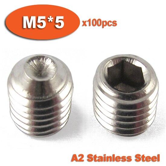 100pcs DIN916 M5 x 5 A2 Stainless Steel <font><b>Screw</b></font> <font><b>Cup</b></font> Point Hexagon Hex <font><b>Socket</b></font> <font><b>Set</b></font> <font><b>Screws</b></font>