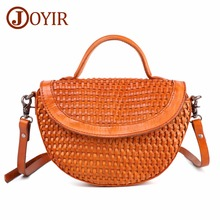 JOYIR New Fashion Genuine Leather Women Bags Weave Handbags Vintage Womens Shoulder Bag Messenger Moon Shaped Wrapped