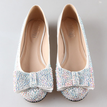 Handmade full rhinestone bow flats AB crystals sparkling woman shoes bridal wedding party prom slip on two layer bow sweet shoe