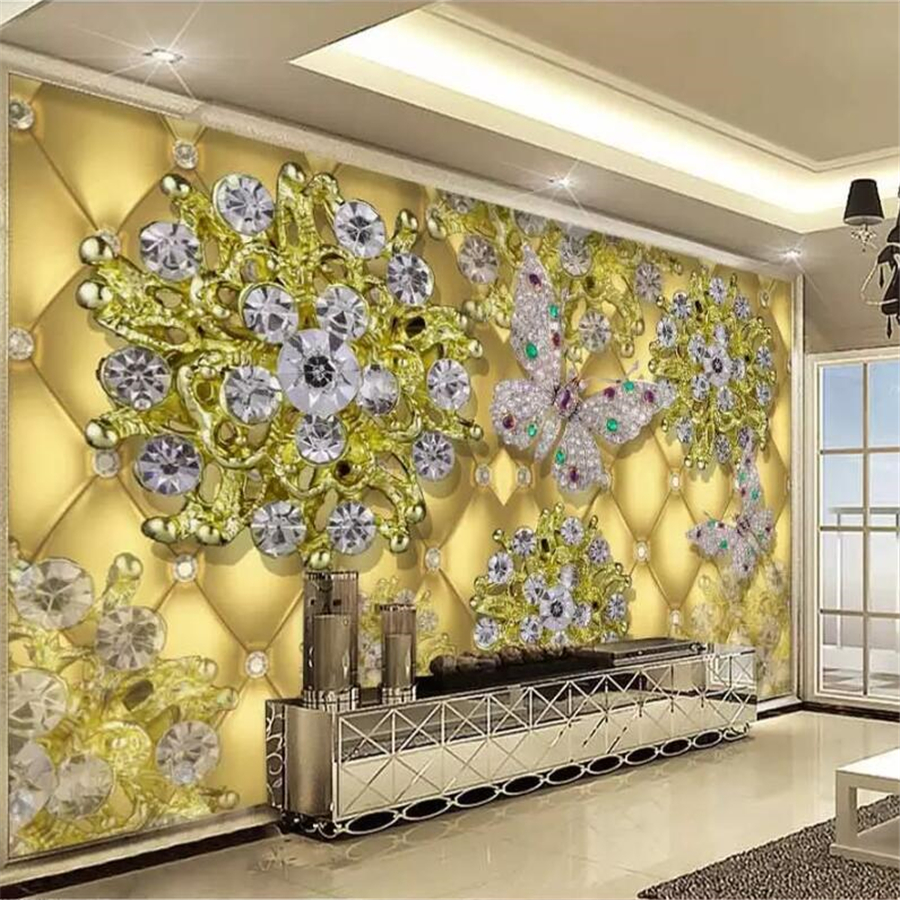Wand Tapeten Luxus Us 17 89 Beibehang Custom Tapete 3d Wandbild Luxus Gold Schmuck Diamant Blume Tv Hintergrund Wand Papers Home Decor 3d Papel De Parede In Beibehang