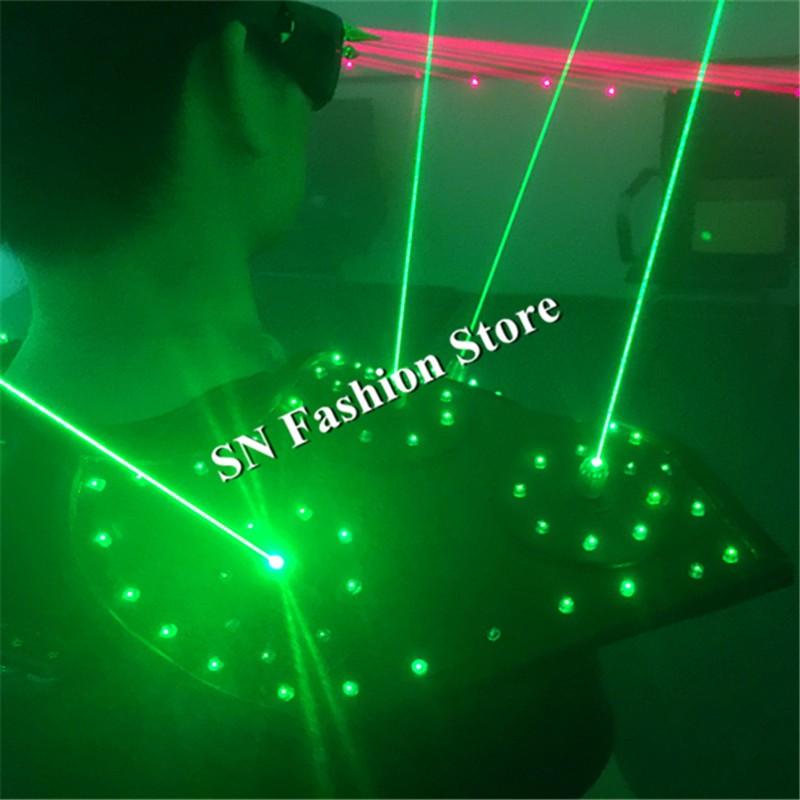T16 Colorful light ballroom laser vest dj laser costumes dance wears laser glasses red laser suit led clothes shoulder led vest 16