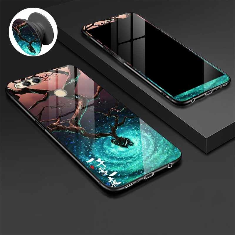 Tempered Glass Case For Huawei Honor 7X 8X Case Cartoon Shockproof Cover for Huawei Honor P20 P10 Lite Tempered Glass Film Case