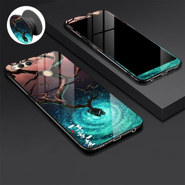 Tempered Glass Case For Huawei Honor 7X 8X Case Cartoon Shockproof Glossy Cover for Huawei Honor 8X 7X Tempered Glass Film Case