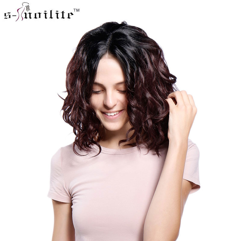 SNOILITE 14 35.5cm body Wave Wig Glueless Lace Front Hair Wigs for Brazilian pre plucked frontal wig lace hair wig wine red