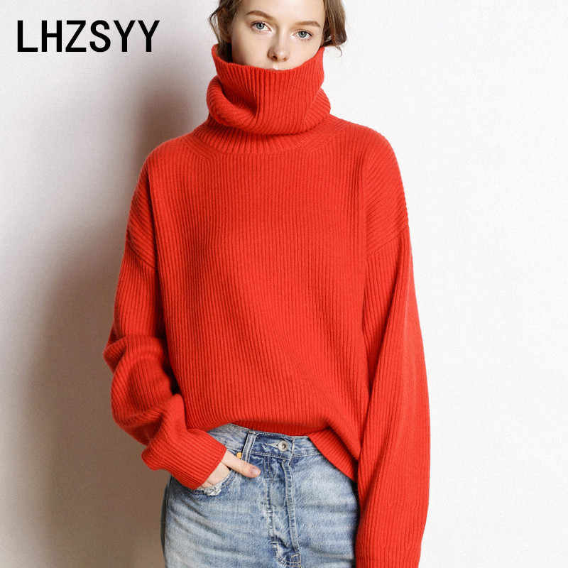 LHZSYY Women New Pure Cashmere Sweater Autumn High Collar Quality Large size Thick Pullover Winter Warm Female Soft Wild Sweater