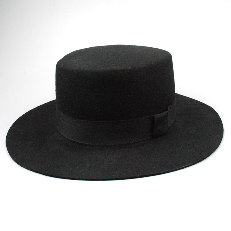 Soft 100% Wool Men Fedora Hat large Brim Ribbon Black Flat Hats for women Floppy Top Hat