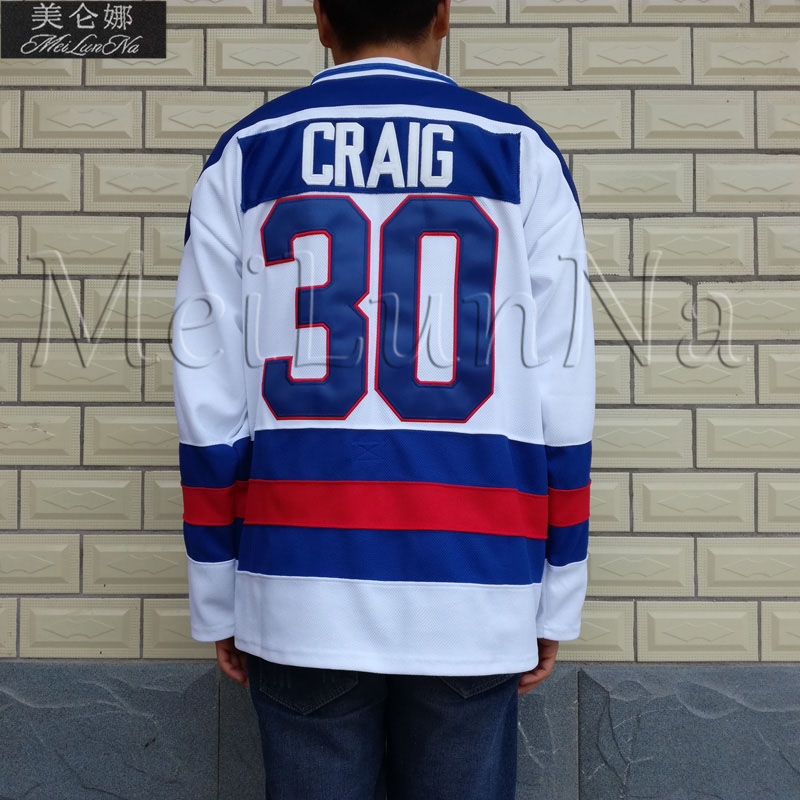 MeiLunNa 1980 Miracle On Ice Team USA  #30 Jim Craig White Hockey Jerseys 3002MeiLunNa 1980 Miracle On Ice Team USA  #30 Jim Craig White Hockey Jerseys 3002