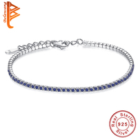 Wedding Bracelet Zircon Jewelry High Quality AAA Round Crystal Trendy 925 Sterling Silver Tennis Charm Bracelet