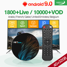 QHDTV 1 Year IPTV France Arabic Box HK1 MAX Android 9.0 4G+32G BT Dual-Band WIFI Belgium Netherlands
