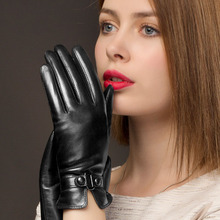 Woman's Gloves Autumn Winter Warm Lined Real Leather Gloves Female Keep Warm Sheepskin Driving Gloves NW745-1 autumn winter woman s gloves sheepskin patchwork driving leather gloves warm lined female mittens a1051 1