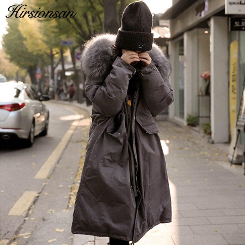 100% Kwaliteit Hirsionsan Winter Jas Vrouwen 2018 Grote Faux Bontkraag Katoen Gewatteerde Bovenkleding Koreaanse Hooded Lange Jas Warm Oversized Parka