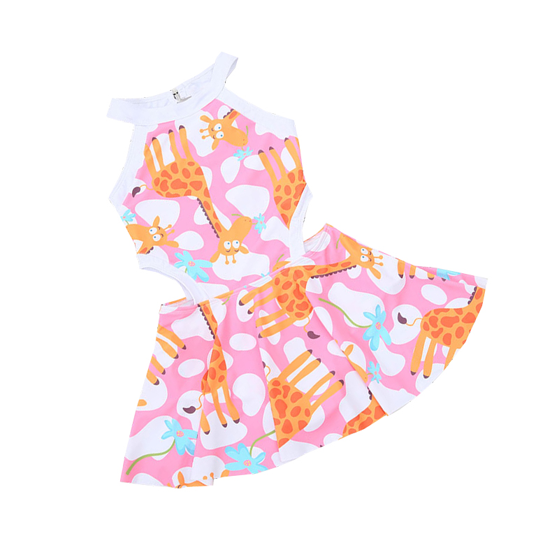 Girls One Piece Swimwear skirt giraffe Children's Swimsuit Bathing Suits Baby Swimming Suit Toddler Teenage Swimming Wear 2-15Y kids swimming suits for girls one piece swimsuit swimwear children 2018 new green printing one piece retro baby biquini