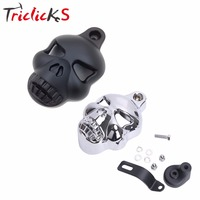 Triclicks CNC Black Chrome Skull Horn Cover Motorcycle Twin Cowbell For Harley Dyna Sportster Softail V Rod Glide Chopper 92 14