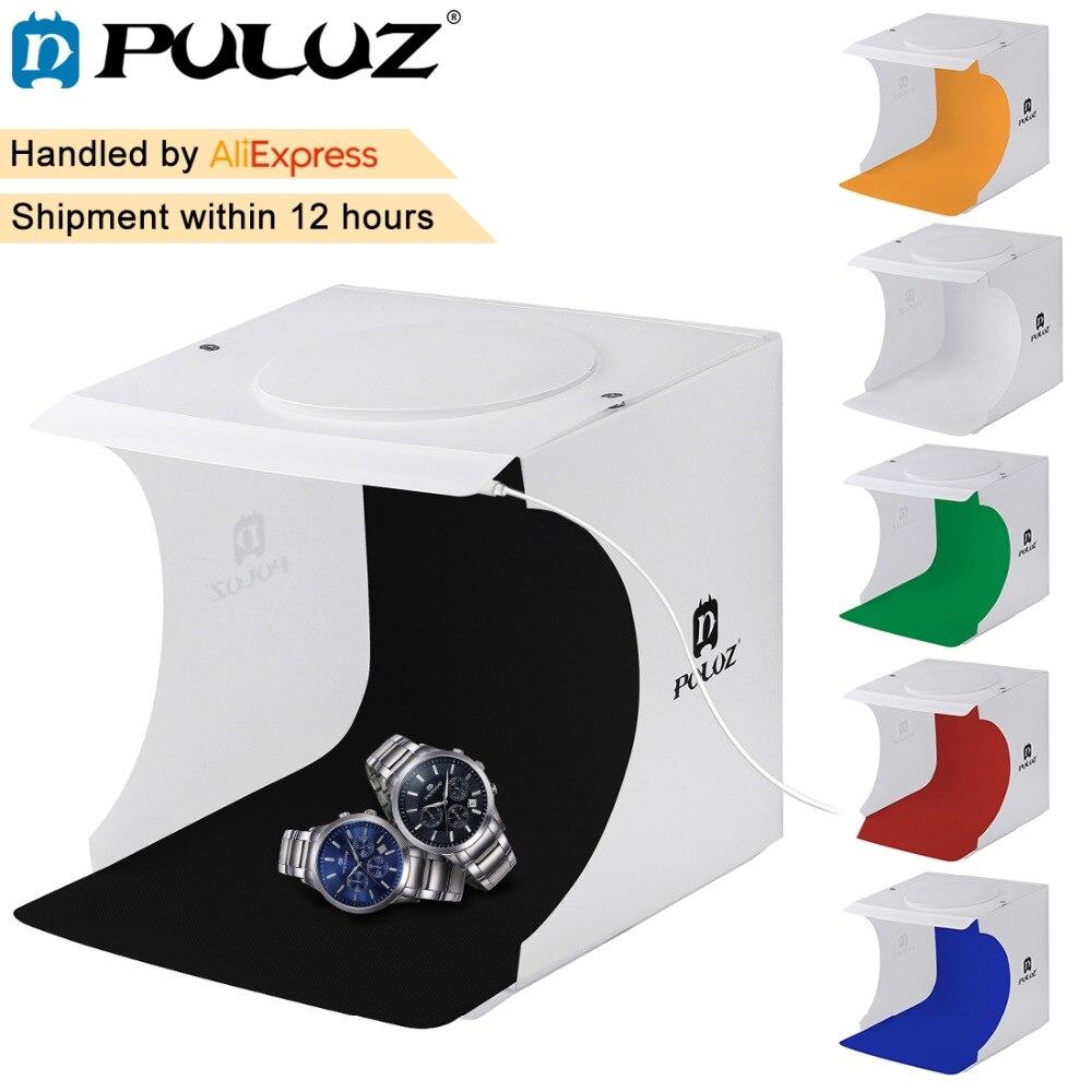 PULUZ 20*20 cm 8 Mini Vouwen Studio Diffuse Soft Box Lightbox Met LED Licht Zwart Wit Fotografie Achtergrond fotostudio doos