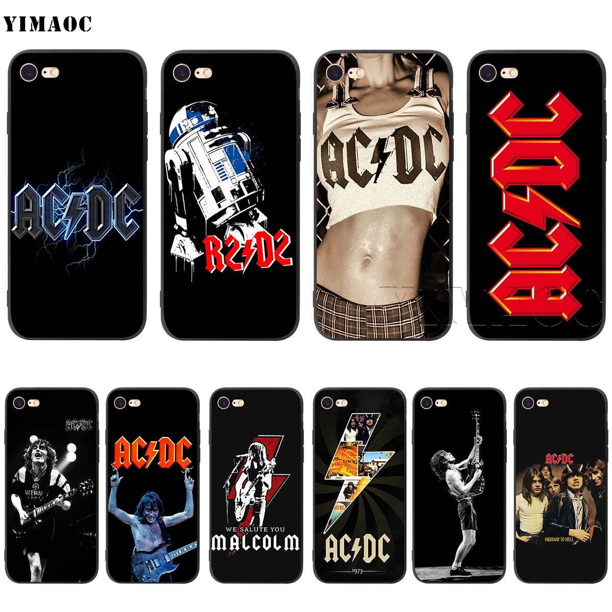 Yimaoc Acdc Rock Silicone Soft Case For Iphone Xs Max Xr X 8 7 6 6s Plus 5 5s Se