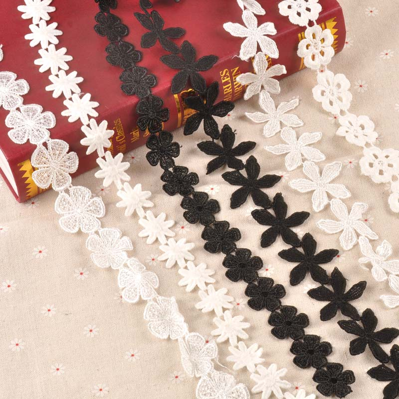 6 Yards White Flowers Lace Trim sewing crafts Clothing accessories DIY