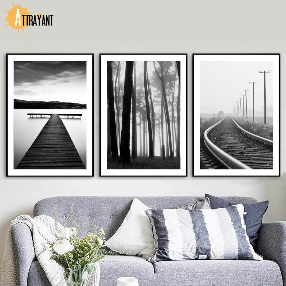 ATTRAYANT Posters And Prints Bridge Forest Railway Wall Art Canvas Painting Pop Art Canvas Prints Wall Pictures For Living Room