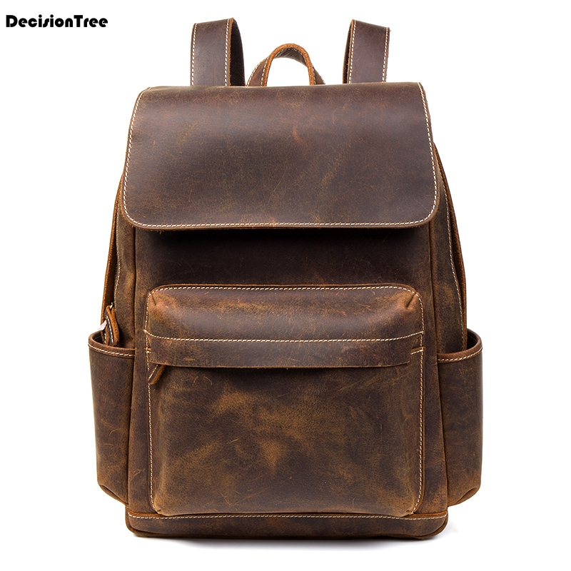 New Vintage British Style Genuine Leather Backpacks Fashion Waterproof Shoulder Bag Casual Laptop Classic Travel Schoolbag C208