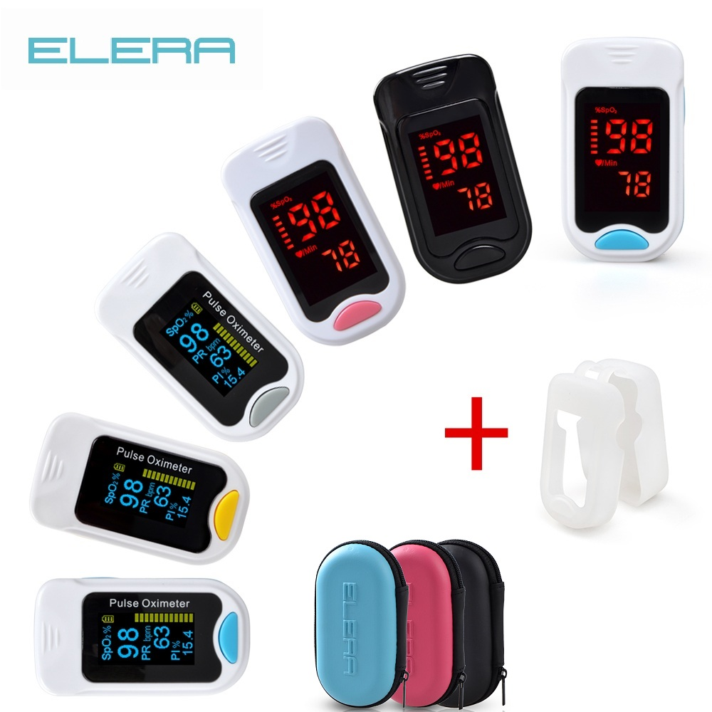 Elera oxímetro de pulso de dedo portátil com caso digital oximétrico de pulso de dedo display oled saturometro