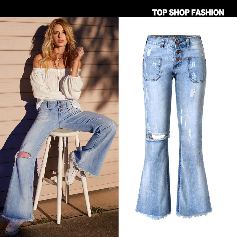 ФОТО New American apparel Womens fashion designer ripped wide leg bell bottom jeans pants Light blue Plus size pantalon femme z016
