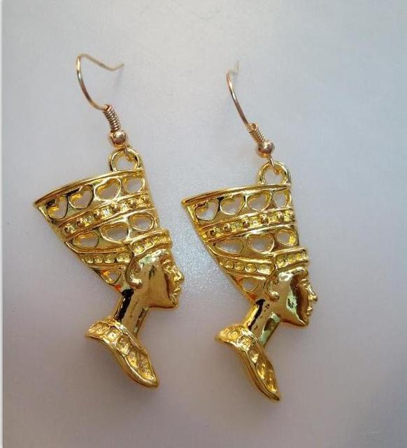 New Fashion Egyptian Egypt Queen Neferi 24k Gold Alloy Vintage Charm Drop Earrings Women S Jewelry