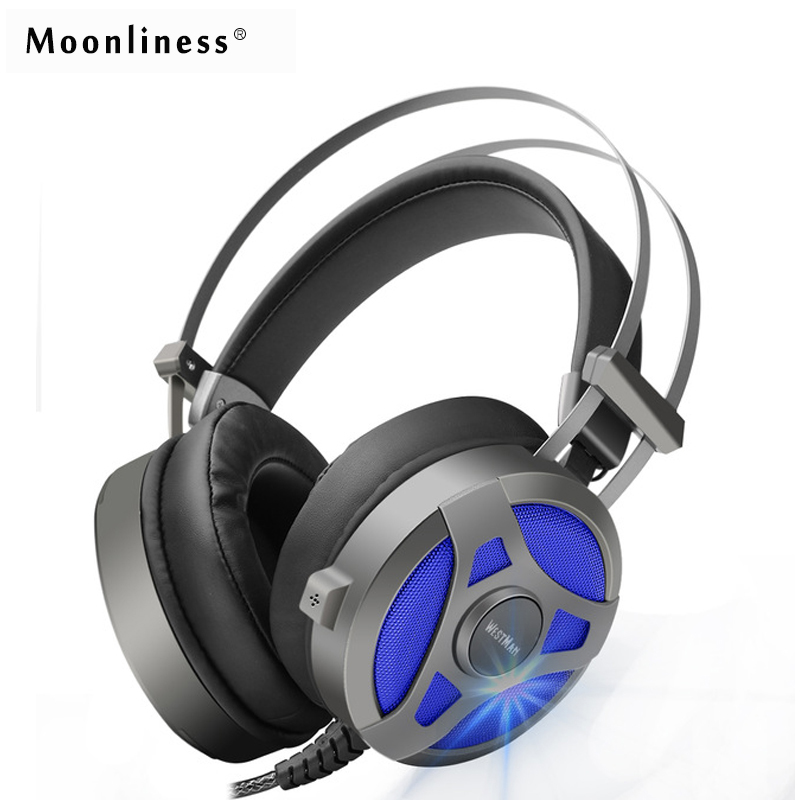 Moonliness Computer Gaming Headset Game headphone Headband Over-ear Stereo Heavy Bass  LED Light with Mic for PC Gamer led bass hd gaming headset mic stereo computer gamer over ear headband headphone noise cancelling with microphone for pc game