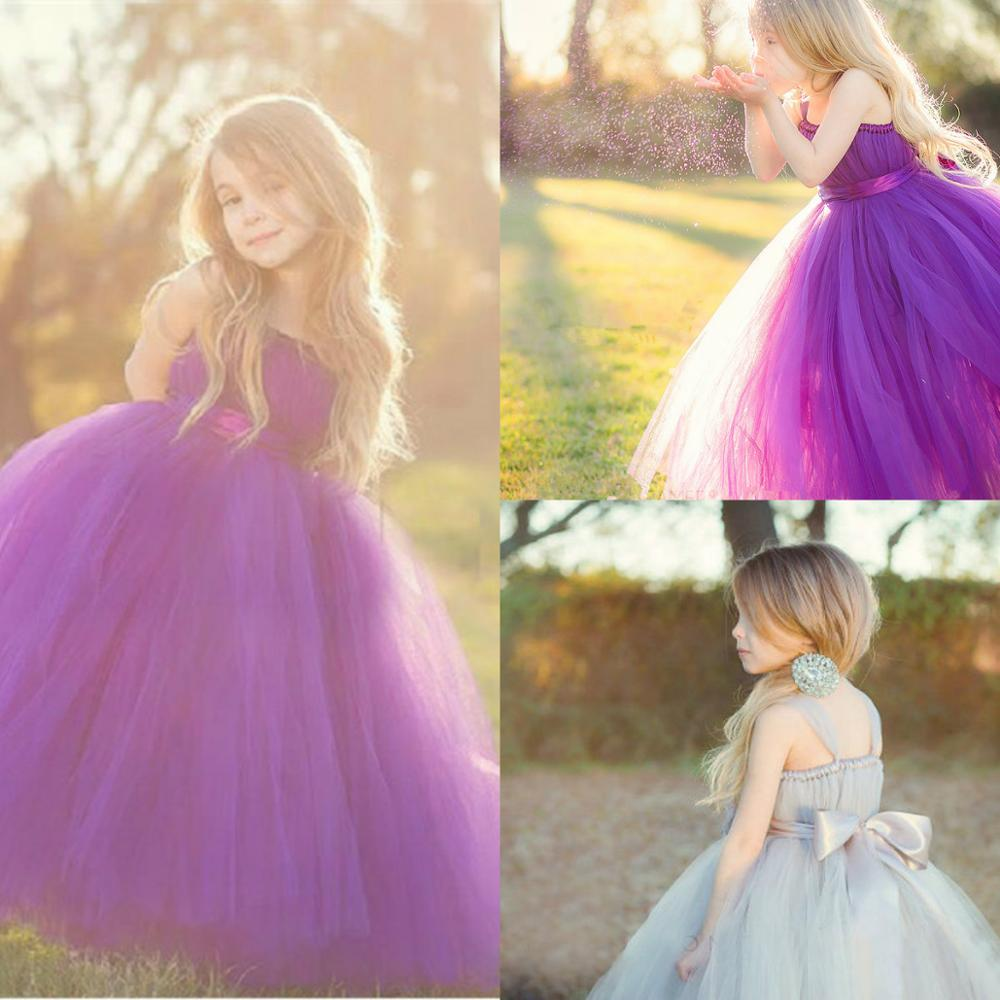 Lovely Tulle   Flower     Girl     Dresses   for Wedding Sleeveless Puffy Pageant Gowns with Bow Sash Backless Kids Formal   Dress