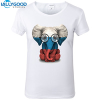 2017 New Funny Baby Elephant Glasses Flag Print T Shirts Kawaii Elephant Women Short Sleeve Shirts