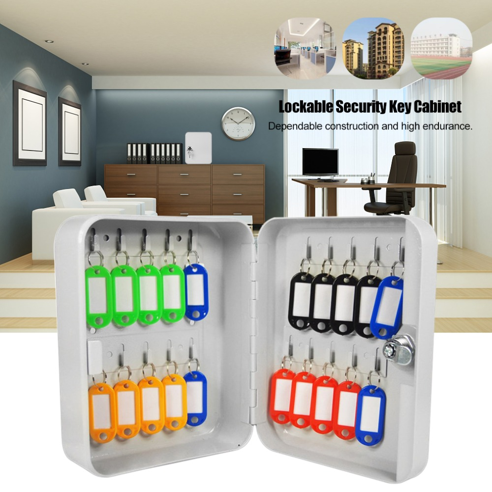 LESHP Key Cabinet Box 20 Tags Fobs wall Mounted Lockable Security Metal cupboard Safe for Home Property Management Company practical key safe box lockable security metal key cabinet storage box safe 20 tags fobs wall mounted key security box wholesale
