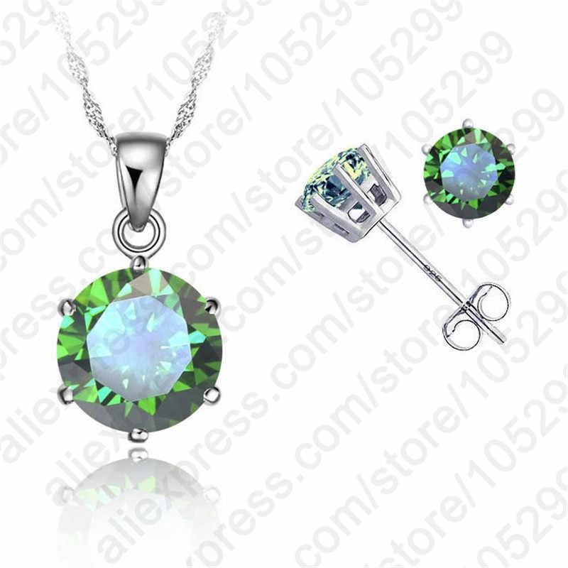 """Klassische 8 Farben Zirkonia Echte 925 Sterling Silber Schmuck Sets 6 Krallen Stud Ohrring Anhänger Halskette 18 """"Kette"""