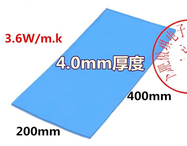 Silicone pièce 4 MM d'épaisseur bleu refroidissement CPU thermoconducteur silicone tampons 200 MM * 400 MM 3.6 W coefficient de conductivité thermique