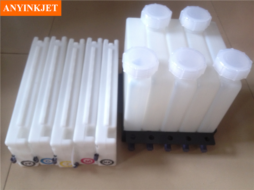 Bulk ink system with chip for Surecolor T3000 T5000 T7000 wide format printer 5 pieces lot 1000ml empty refillable ink cartridges for epson t3000 t5000 t7000 printer with arc chip