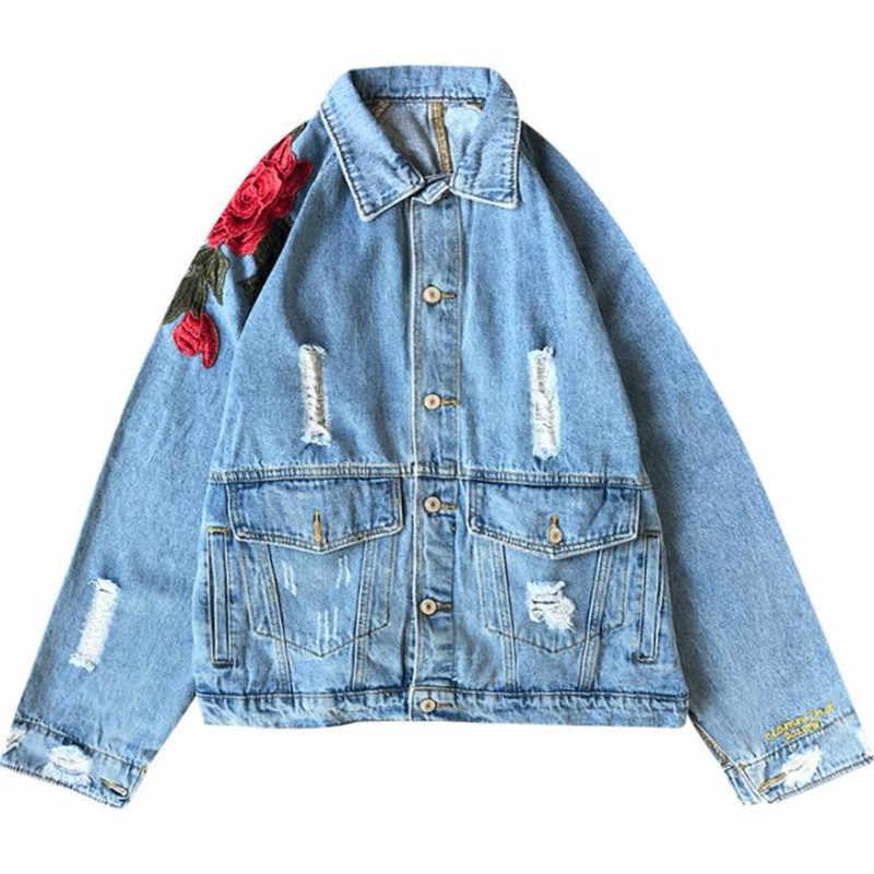 e12bb4c391e ... Spring Denim Jacket Women 2019 Female Jeans Jacket Fall Rose embroidery  holes vintage denim jacket men