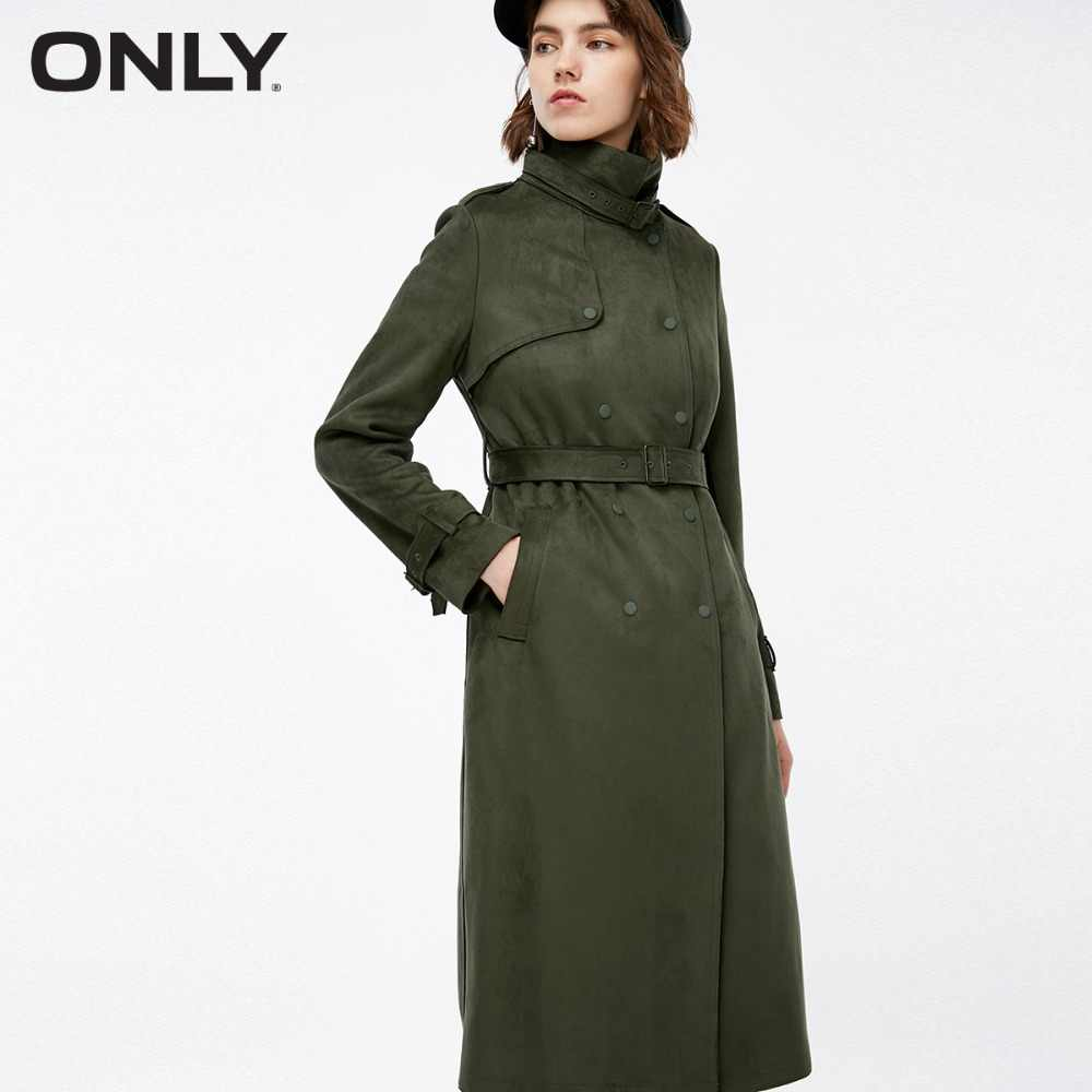 ONLY Women's Suede Double-breasted Wind CoatRing buckle waistband Matte press studs |118336527