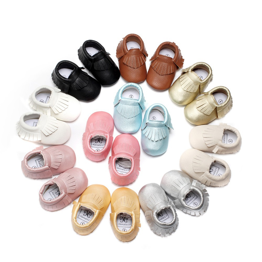 New Fashion Baby First Walkers font b Shoes b font Moccasins Soft Moccs PU Leather Infant