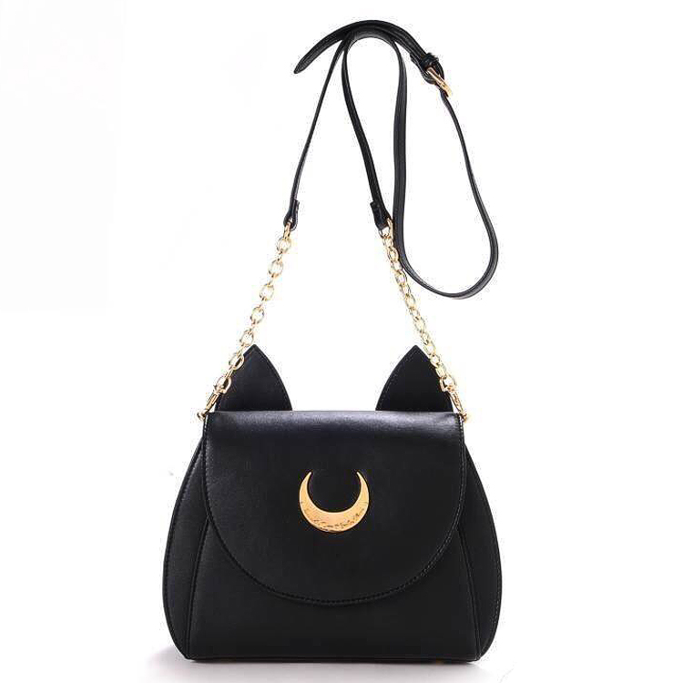 Hot Anime Sailor Moon fashion Leisure black color mini crossbody bags woman girl Handbags Street package Party bag birthday gift anime pocket monster sailor moon totoro zootopia etc jewelry cell phone drawstring pouch wedding party gift bag draph variety