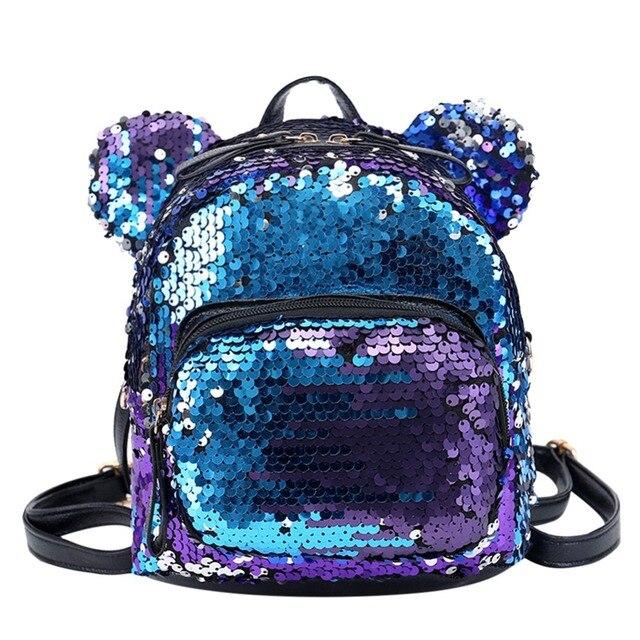 2018 Sequin Shoulder Bag Shining Women Backpacks Teenage Girls Travel Mini  School Bags Casual Bear Small 5dc4aeb15b250
