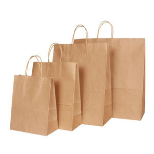 Image 2 - 30PCS/lot 4 size kraft paper bag with handles for Wedding Party Fashionable clothes Gifts Multifunction Wholesale