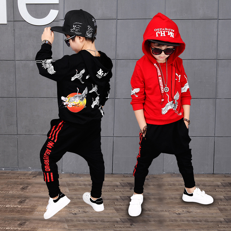 Kid's Sets Suit Long Sleeve Hooded Suit For Boys Cool Printing Children Sports Dance Wear Boy's Two Piece Suits Hip Pop Clothing