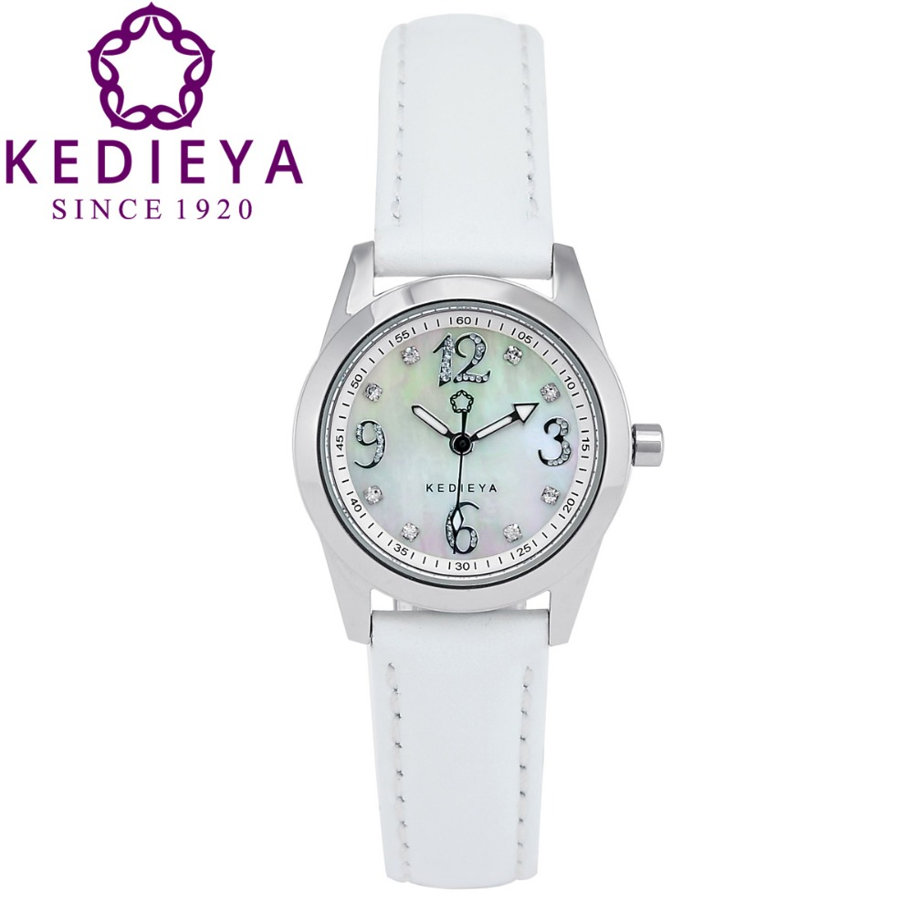 KEDIEYA 6 Colors Genuine Leather Laides Designer Pearl Dial Zircon Gems Number Waterproof Watches for women