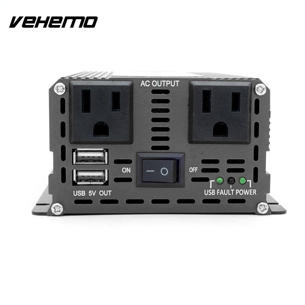 Vehemo Modified Sine Wave Auto Inverter Power Supply Car Inverter Charger Solar Power Inverter for Car Accessories Transformer