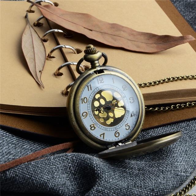 Chinese Elements Hollow Luxury Men Pocket Watch Cool Digital Pointer Flip Chain
