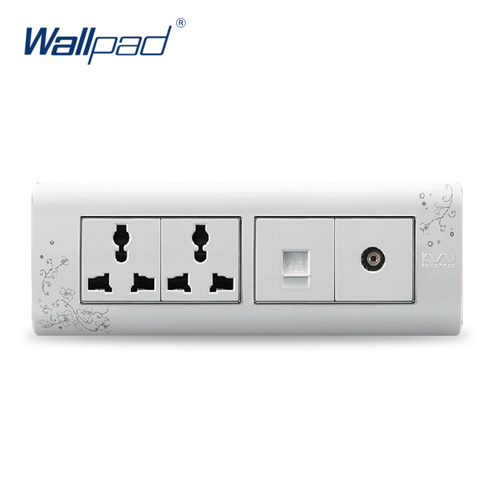 2018 Hot Sale TEL And TV 6 Pin Socket Wallpad Luxury Wall Switch Panel Outlet Socket 197*72mm 10A 110~250V стоимость