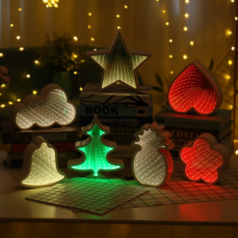 3D LED Night Light Moon Star Tunnel Lamp Hanging Mirror Glow In The Dark Christmas Wedding Home Decoration Baby Sleeping Gift